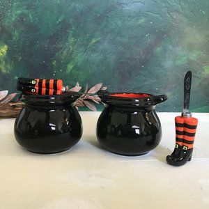 Witch Boots Butter Knife and Cauldron Set